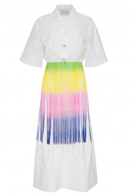a0b33d3359 Fringed midi shirt dress